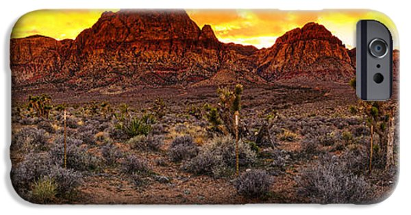 Oak Creek iPhone Cases - Red Rock Canyon Las Vegas Nevada Fenced Wonder iPhone Case by Silvio Ligutti