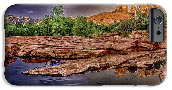 Cathedral Rock iPhone Cases - Red Rock Crossing Red Rock State Park iPhone Case by  Bob and Nadine Johnston