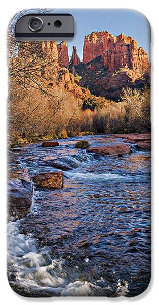 Oak Creek iPhone Cases - Red Rock Crossing Winter iPhone Case by Mary Jo Allen