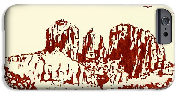 Sedona Drawings iPhone Cases - Red  Rock  Sedona iPhone Case by Hartmut Jager