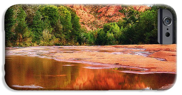 Oak Creek iPhone Cases - Red Rock State Park - Cathedral Rock iPhone Case by  Bob and Nadine Johnston