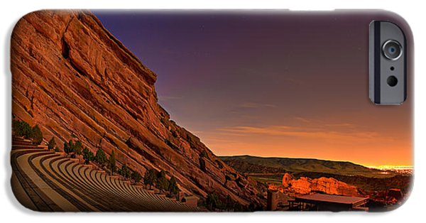 Red Rock iPhone Cases - Red Rocks Amphitheatre at Night iPhone Case by James O Thompson