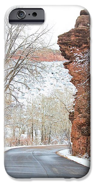 Red Rocks Winter Landscape Drive iPhone Case by James BO  Insogna