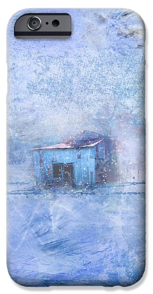 Red Barn In Winter iPhone Cases - Old Barn With Red Roof in Blue iPhone Case by Marty Malliton