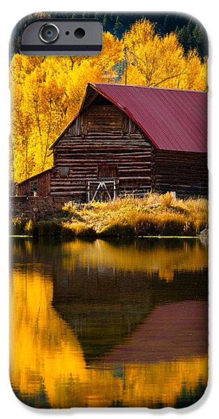 Red Roofed Barn iPhone Cases - Red Roof Barn In Fall iPhone Case by Adam Schallau