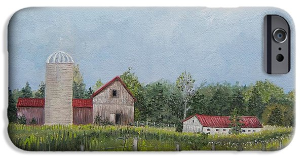 Red Roofed Barn iPhone Cases - Red Roof Barns iPhone Case by Reb Frost