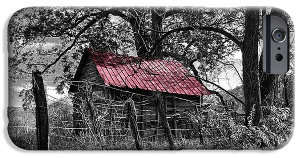 Old Barns iPhone Cases - Red Roof iPhone Case by Debra and Dave Vanderlaan
