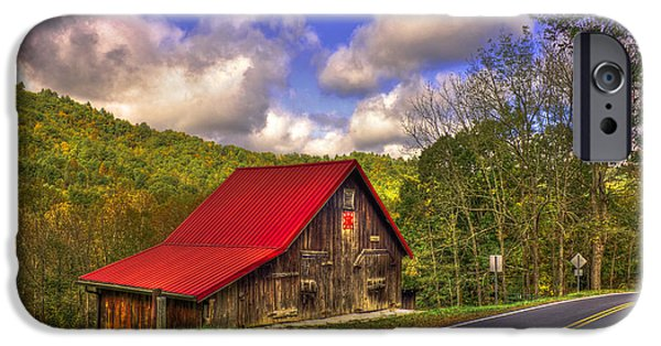 Red Roofed Barn iPhone Cases - Red Roof In The Blue Ridge Mountains iPhone Case by Reid Callaway