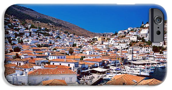 Port Town iPhone Cases - Red roofs iPhone Case by Aiolos Greek Collections