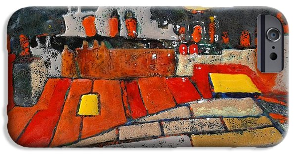 Cities Glass Art iPhone Cases - Red roofs yellow sky  iPhone Case by Olga Aleksandrova