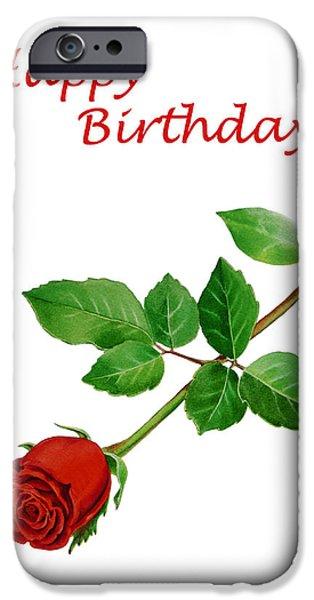 Flower Of Life iPhone Cases - Red Rose Happy Birthday  iPhone Case by Irina Sztukowski