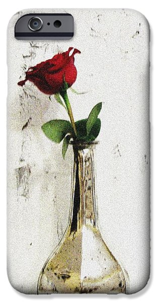 Wrap Digital Art iPhone Cases - Red Rose Love iPhone Case by Marsha Heiken