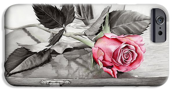 Rose iPhone Cases - Red Rosebud on the Jewelry Box iPhone Case by Hailey E Herrera