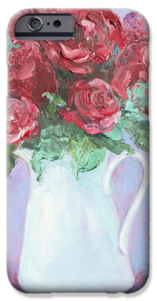 Red Roses in white jug iPhone Case by Jan Matson
