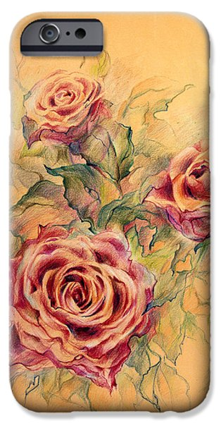 Fireworks Drawings iPhone Cases - Red roses iPhone Case by Oksana Gatalskaya