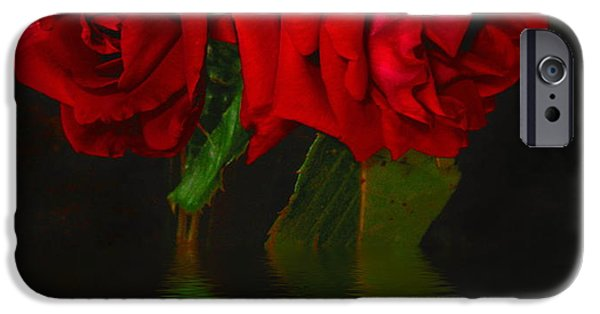 Botanical iPhone Cases - Red Roses Reflected iPhone Case by Joyce Dickens