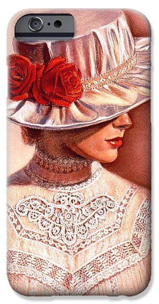 Rose Pastels iPhone Cases - Red Roses Satin Hat iPhone Case by Sue Halstenberg