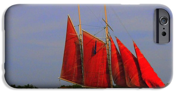 Sailing iPhone Cases - Red Sails iPhone Case by Kathleen Struckle