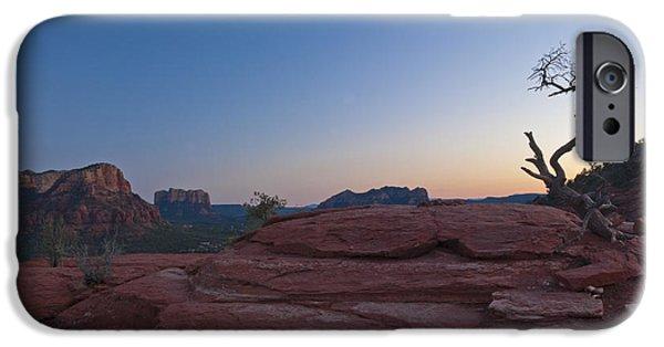 Sedona iPhone Cases - Red Sandstone Cliffs & Twilight iPhone Case by Ellen Thane