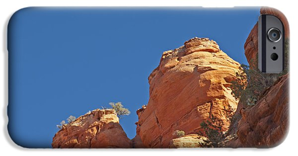 Sedona iPhone Cases - Red Sandstone Rock Formations & Moon iPhone Case by Ellen Thane