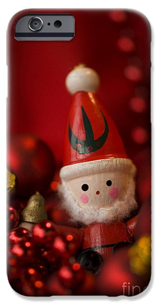 Santa iPhone Cases - Red Santa iPhone Case by Anne Gilbert