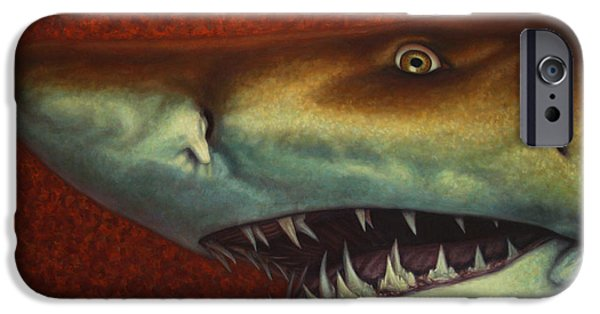 Sea iPhone Cases - Red Sea Shark iPhone Case by James W Johnson
