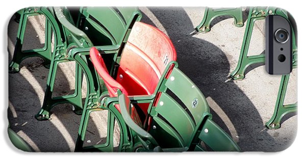 Fenway Park iPhone Cases - Red Seat at Fenway Park iPhone Case by Caroline Stella