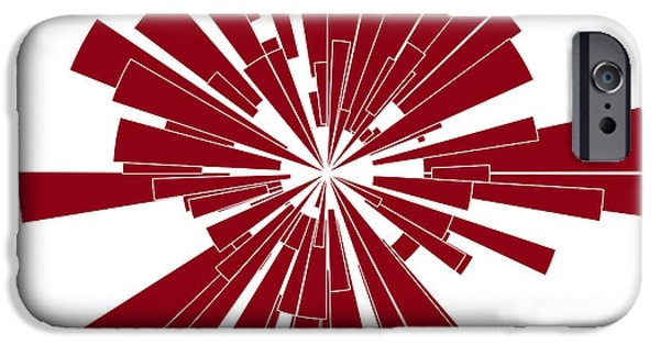 Abstract Shapes Drawings iPhone Cases - Red Shape iPhone Case by Frank Tschakert