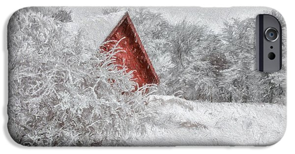 Red Barn In Winter iPhone Cases - Red Shed In The Snow iPhone Case by Lois Bryan