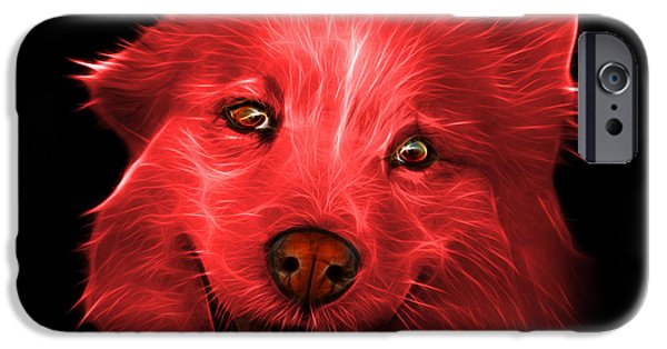 Mixed Labrador Retriever Paintings iPhone Cases - Red Siberian Husky Mix Dog Pop Art - 5060 BB iPhone Case by James Ahn
