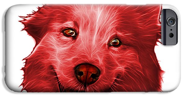 Mixed Labrador Retriever Paintings iPhone Cases - Red Siberian Husky Mix Dog Pop Art - 5060 WB iPhone Case by James Ahn