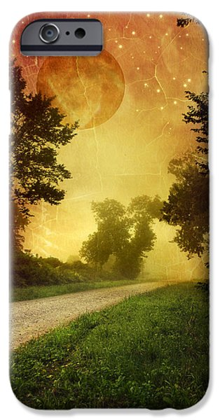 Rollo Digital Art iPhone Cases - Red Sky Along Starry Pathway iPhone Case by Christina Rollo