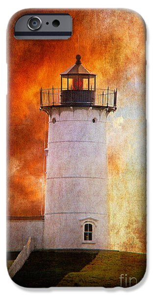 Red Sky At Morning - Nubble Lighthouse iPhone Case by Lois Bryan