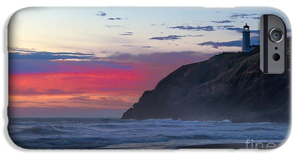 Cape Disappointment iPhone Cases - Red Sky at North Head Lighthouse iPhone Case by Robert Bales