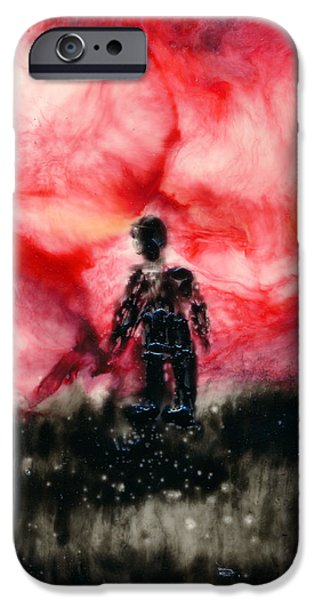 Figure iPhone Cases - Red Sky Figure iPhone Case by Janet Gunderson