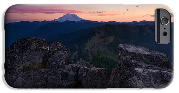 Roosting iPhone Cases - Red Sky over Rainier iPhone Case by Mike  Dawson