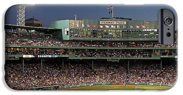 Baseball Stadiums iPhone Cases - Red Sox and Fenway Park  iPhone Case by Juergen Roth
