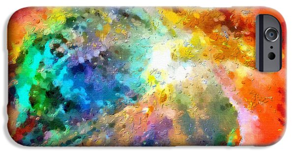 Outer Space Paintings iPhone Cases - Red space clouds iPhone Case by Magomed Magomedagaev