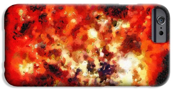 Outer Space Paintings iPhone Cases - Red space iPhone Case by Magomed Magomedagaev