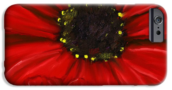 Red And Black iPhone Cases - Red Spectacular- Red Gerbera Daisy Painting iPhone Case by Lourry Legarde