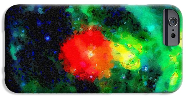 Outer Space Paintings iPhone Cases - Red spot in outer space iPhone Case by Magomed Magomedagaev