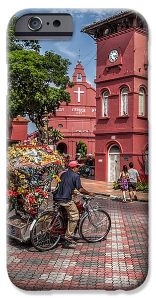 Clock Shop iPhone Cases - Red Square Malacca iPhone Case by Adrian Evans