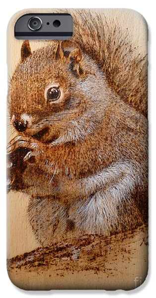 Small Pyrography iPhone Cases - Red squirrel   iPhone Case by Manon  Massari