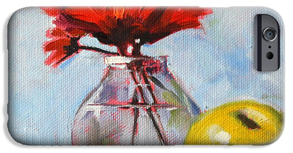 """indoor"" Still Life Paintings iPhone Cases - Red Still  iPhone Case by Nancy Merkle"