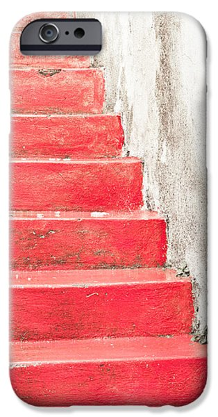 Red Carpet iPhone Cases - Red stone steps iPhone Case by Tom Gowanlock