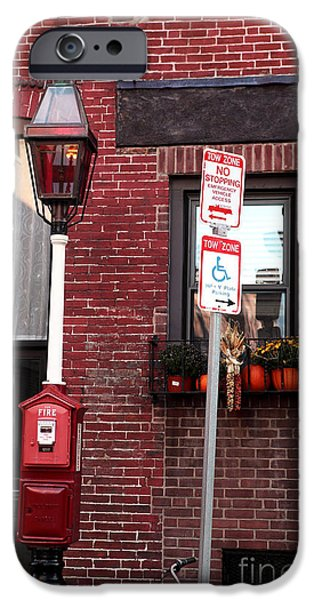 Boston Ma iPhone Cases - Red Street in Boston iPhone Case by John Rizzuto