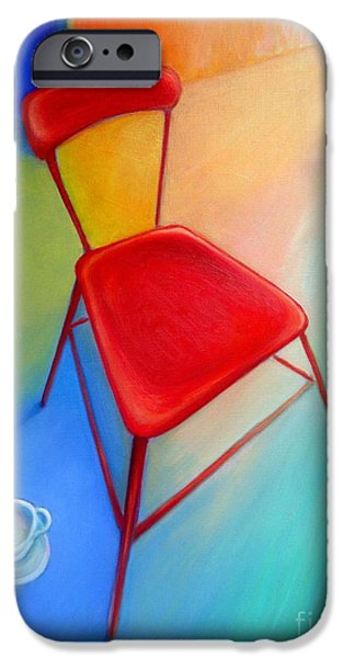 Empty Chairs Paintings iPhone Cases - Red Studio Chair iPhone Case by Frederick  Luff