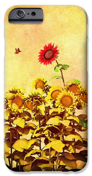 Collectible Digital Art iPhone Cases - Red Sunflower iPhone Case by Bob Orsillo