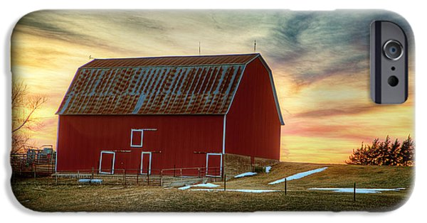 Old Barns iPhone Cases - Red Sunrise iPhone Case by Thomas Zimmerman
