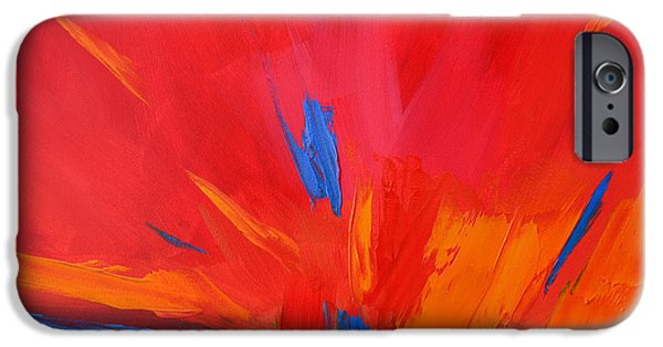 Interior Scene iPhone Cases - Red Sunset Abstract  iPhone Case by Patricia Awapara